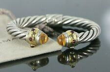 David Yurman Renaissance Silver 14K Gold Citrine Ruby 8.5mm Bangle Bracelet