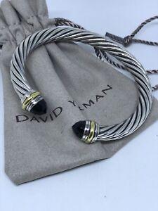 David Yurman Cable Classic 925 Silver &14k Gold Black Onyx 7mm Bracelet
