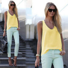 Womens V Neck Chiffon Sleeveless Vest Blouse Casual Tank Loose Summer Tops Shirt