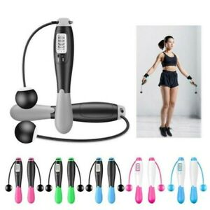 Digital LCD Jumping Skipping Rope Calorie Count Counter Timer Fitness Cordless