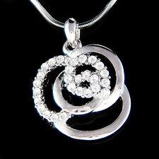 w Swarovski Crystal Rose Flower Floral Bridal Bridesmaids Charm Necklace Jewelry