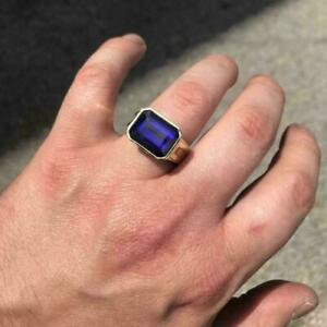 Mens 4Ctw Blue Tanzanite Emerald Solitaire Statement Ring 14k Yellow Gold Finish