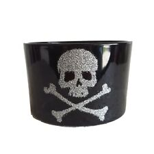 NEW Pottery Barn Black & Glitter Skull Votive Candle Holders  Goth Set 4
