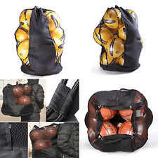 15 Ball Carry Sack Holdall Black Heavy Duty Football Netball Rugby Mesh Bag UK