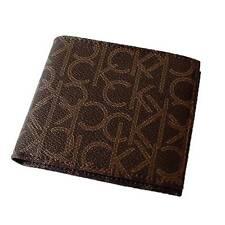 Calvin Klein Men Brown Leather Billfold Credit Card Coin Pocket Wallet 79463