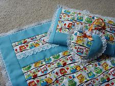 Bambole FATTE A MANO biancheria letto trapunta coperta per carrozzina, Set di cuscini & Cuore