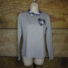 Maison Jules Womens Small Bow Striped Heart Collared Top Long Sleeve NEW $70