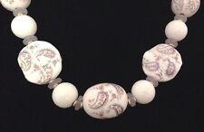 Vintage Necklace White & Grey Glass Paisley Boho Statement Classic Chic Japan 8K