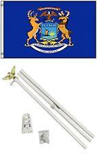 2x3 2'x3' State of Michigan Flag White Pole Kit Set