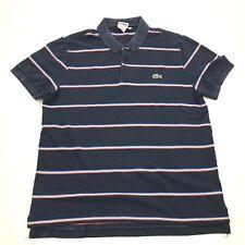 Lacoste Polo Shirt Size 4 Blue Ringer Short Sleeve Adult Green Alligator Logo