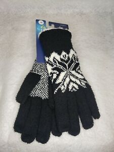 Isotoner Women's One Size Black And White Snowflake Sherpa Lining