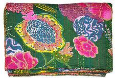 Hippie Dark Green Kantha Embroidered Bedspread Floral Quilt Throw INDIAN Decor
