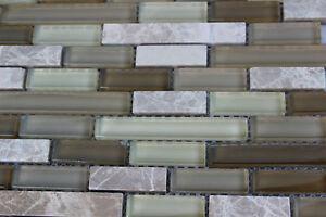 10 SHEET Brown Mosaic Tile Mesh Sheet Marble Stone Glass Bath Kitchen Backsplash