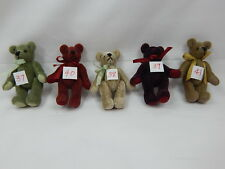 "World Of Miniature Bears Dollhouse Miniature 2.5"" Plush Bear 5 Pcs Set #381A"