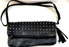 Skull Handbag Purse Med Black Pewter Silver Stud Leather Tassel Fold Over Zipper