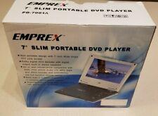 "New Portable Dvd Cd Player Slim 7"" Emprex Pd-7001A Nos 30 Day Warranty!"