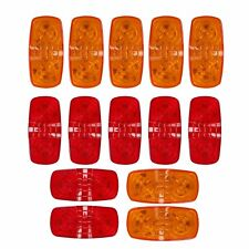 14x 10 Diodes LED Trailer Marker Light Double Bullseye Clearance Lamps Red/Amber