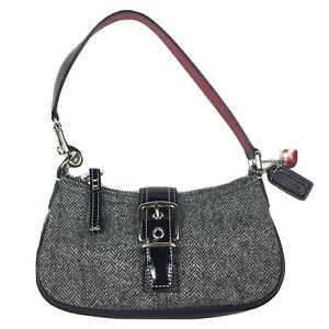 COACH Herringbone Fabric Black Red  Heart Fob Baguette Bag Mini Purse Pochette