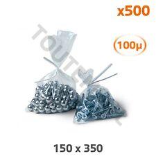 Sachet transparent résistant 150 x 350 mm 100 microns (par 500)