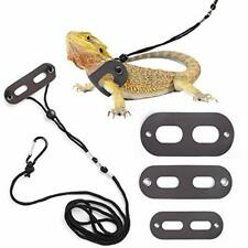 Bearded Dragon Harness and Leash Adjustable(S,M,L, 3 Pack) - Soft Leather Reptil