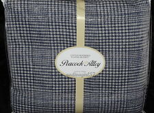 Peacock Alley KING FLANNEL BLANKET  Navy Blue Grey, Cotton, Houndstooth Plaid
