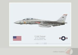 Warhead Illustrated F-14A Tomcat VF-14 Tophatters 107 Aircraft Print