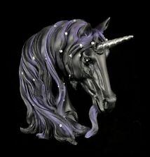 Einhorn Figur Büste - Midnight klein schwarz Kopf Deko Fantasy