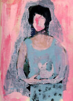 8x10 Print - Blue Abstract Woman & Cat Figure Print Katie Jeanne Wood
