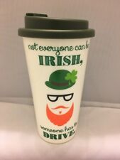 Travel Mug Green Not Everyone Can Be Irish St Patty's Day Plastic Cup w/Lid