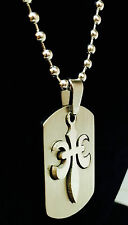 Stainless Steel military style Flor De Lis Dog tag Pendant with Free Ball Chain
