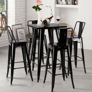 Tolix Style Bistro Cafe Metal Pub High Chairs Table Breakfast Kitchen Stools Set