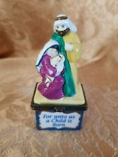 """Midwest of Cannon Falls Nativity Hinged Trinket Box """"Unto Us A Child Is Born"""""""