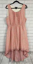 Deliorious Women's Size 3X Pink Ivory Chevron Print High-Low Empire Waist Dress