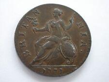 1771 GEORGE III HALFPENNY - GVF + - UK POST FREE