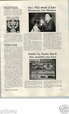 1955 Paper Ad Article Model Of Spitz Planetarium Harmonic Reed Co Toy Goodee Car
