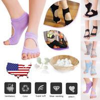 USA 2 Pairs Women Yoga Dance Exercise Socks Half Toe Toeless Ankle Grip Non Slip