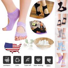 85802e9b17fc USA 2 Pairs Women Yoga Dance Exercise Socks Half Toe Toeless Ankle Grip Non  Slip