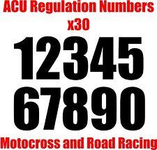 Números de carrera reglamento Acu-Paquete de 30 140mm Motocross Pegatina Calcomanía carrera de carretera