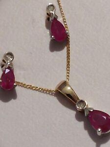 H Samuel 9ct Gold Diamond & sapphire Necklace & Earrings Set.Full hallmark