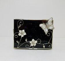 Vintage Black Glass Silver Butterfly Flip Top Jewelry Trinket Box