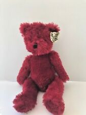 "Greenbrier International Cuddly Cousins 10"" maroon teddy bear pre-owned, tag"