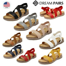 DREAM PAIRS Women's Flat Sandals Open Toe Elastic Cross Strap Summer Shoes US