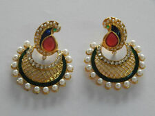 Designer Indian Peacock Style Ethnic Jewelry Gold Plated Polki Earring Set
