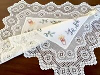 """VINTAGE HAND EMBROIDERED CROCHET WHITE Cotton TABLE CENTRE TROLLEY CLOTH 22x28"""""""