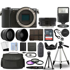 Sony Alpha a5100 Camera Body Black + 3 Lens Kit 16-50mm OSS+ 32GB + Flash & More