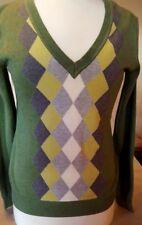 Bass & Co Womens Argyle Pullover Sweater Green/Gray Tones V Neck 100% Cotton  S