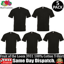 5 PACK OF FRUIT OF THE LOOM Plain Mens Black T Shirt S-6XL Blank T-Shirt 3931