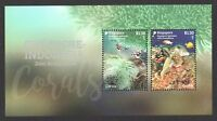 SINGAPORE 2017 INDONESIA JOINT ISSUE CORALS SOUVENIR SHEET OF 2 STAMPS MINT MNH