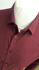 MEN'S ZARA MAN BLACK TAG BURGUNDY POLKA DOT SHIRT MOD/PSYCHEDELIC/DANDY/RELCO
