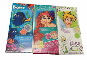 Disney Latch Hook Kit Lot TinkerBell Ariel Dory 12 X12 Canvas and Yarn Included